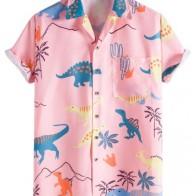 Мужской Рубашка случайный с принтом динозавра