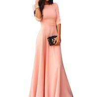 Шик длины макси Платья цвета сплошного с средними рукавами  - Floryday @ floryday.com