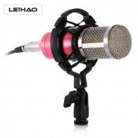 2017 новейший LEIHAO Professional конденсаторный микрофон звук Запись микрофон с подвесом для радио Braodcasting пение купить на AliExpress