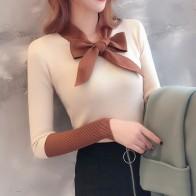 466.8 руб. 32% СКИДКА|Милый свитер женский осенний Новый бант украшение Повседневный свитер v образный вырез длинный рукав сшивание дизайн вязаный пуловер свитер-in Пуловеры from Женская одежда on Aliexpress.com | Alibaba Group
