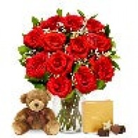 One Dozen Red Roses with Godiva Chocolates & Bear  at From You Flowers