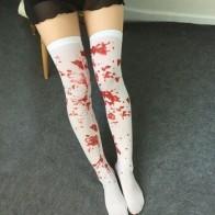 1 пара женских носков выше колена, пятнистые носки в крови, одежда для костюмированной вечеринки на Хэллоуин - Helloween / Хеллоуин