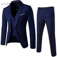 1406.63 руб. 41% СКИДКА|LAAMEI мужские 3 шт. (куртка + жилет + брюки) мужской деловой костюм Slim Fit тонкий весенний костюм однотонный Повседневный офисный костюм Азиатский XL = US XXS купить на AliExpress