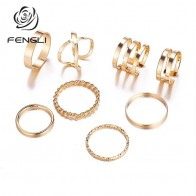 FENGLI Bijoux Wedding Rings for Women Multi Layer Cross Twist Ring Sets 8pc/Set Vintage Simple Jewelry-in Rings from Jewelry & Accessories on AliExpress - Anillo, anillo, anillo