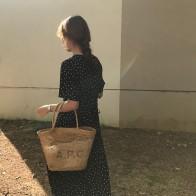 US $18.78 |Women Summer Polka Dot Slim Waist Bandage Long Dress Female Vintage Vestidos with Belt Sundress Robe Longue Femme Zomer Jurk-in Dresses from Women