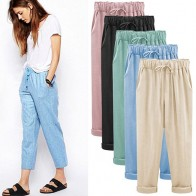 US $8.98 45% OFF|Harem Pants Women Plus Size Cotton Linen Pants Ladies Casual Harajuku 2019 Summer Trousers Women Ankle length Length Pants-in Pants & Capris from Women