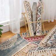 US $16.32 49% OFF Retro Bohemian Hand Woven Cotton Linen Carpet Tassel Bedside Rug Geometric Floor Mat Living Room Bedroom Home Decoration-in Carpet from Home & Garden on AliExpress