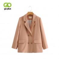 2002.26 руб. 41% СКИДКА|GOPLUS 2019 женский двубортный клетчатый Блейзер длинный рукав офисная куртка женская Высококачественная Весенняя повседневная элегантные пальто C7185-in Пиджаки from Женская одежда on Aliexpress.com | Alibaba Group