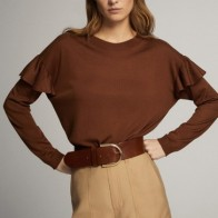 BOAT NECK SWEATER WITH RUFFLE DETAIL - Women -  Massimo Dutti