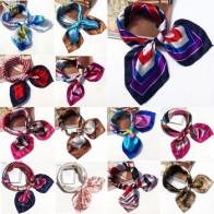 Бандана AOMU Женская, многофункциональный шарф из полиэстера и шелка с принтом, сатиновые маленькие квадратные шали и шарфы, платок