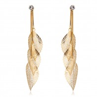 US $3.99 20% OFF|Gold Color Snake Chain Filigree Tripe Leaves Crystal Leaf Drop Dangle Long Earrings For Women Girl Jewelry Colgantes Aros Aretes-in Drop Earrings from Jewelry & Accessories on Aliexpress.com | Alibaba Group