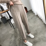 US $15.53 36% OFF|Thicken Women Pencil Pants 2019 Autumn Winter Plus Size OL Style Wool Female Work Suit Pant Loose Female Trousers Capris 6648 50-in Pants & Capris from Women