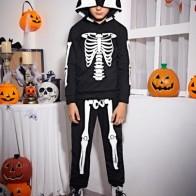 Boys Halloween Print Hoodie and Joggers Set