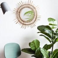 Ротанговое зеркало для макияжа, креативное декоративное круглое зеркало для ванной, гостиной, Настенное подвесное зеркало большого размер... - Зеркала