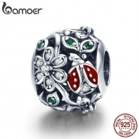 US $8.82 30% OFF|BAMOER 925 Sterling Silver Fashion Red Ladybug Flower Wonderland Cubic Zircon Charms fit Bracelets Bangles Jewelry Making SCC926-in Beads from Jewelry & Accessories on Aliexpress.com | Alibaba Group