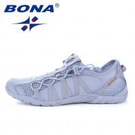 BONA/новый популярный стиль, мужские кроссовки, спортивная обувь на шнуровке, уличные кроссовки для бега, удобные, быстрая доставка купить на AliExpress