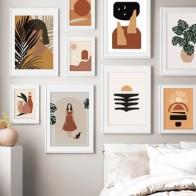 Абстрактный растительный лист для девочек, винтажный плакат на стену, Картина на холсте, скандинавские постеры и принты, настенные картины ... - Абстракция