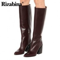 Rizabina/зимние женские сапоги до колена модные сапоги на молнии с острым носком на толстом каблуке крутая обувь в ковбойском стиле женская обу...