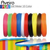 10 цветов, 100 метров, нить для 3D принтера, PLA 1,75 мм, пластиковый материал для 3D ручки, игрушки для рисования и печати, подарки для детей-in Материалы для 3D-печати from Компьютер и офис on AliExpress