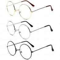 68.84 руб. 11% СКИДКА|Женские/мужские ретро большие круглые очки прозрачные металлические очки; оправа для очков аксессуары очки 3 цвета купить на AliExpress