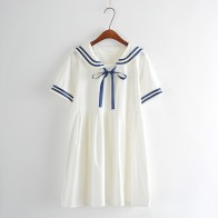 US $14.85 |Summer new Women Japanese Sen female line navy wind bow College Wind sweet short sleeved dress for girls-in Dresses from Women
