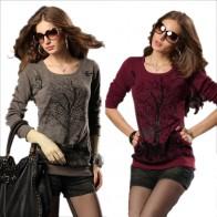 1019.45 руб. 38% СКИДКА|Плюс размер Весна Осень Мода Большие размеры пуловеры, свитер женский новый 2019 свободный узор Джемпер Рубашка трикотажная свитера 01 купить на AliExpress