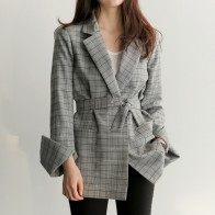 US $20.15 44% OFF|Spring Autumn Women Gray Plaid Office Lady Blazer Fashion Bow Sashes Split Sleeve Jackets Elegant Work Blazers Feminino-in Blazers from Women