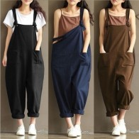 US $6.96 17% OFF|HOT Fashion Women Girls Loose Solid Jumpsuit Strap Dungaree Harem Trousers Ladies Overall Pants Casual Playsuits Plus Size M 3XL-in Jumpsuits from Women