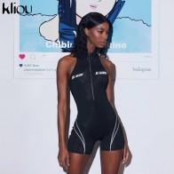 729.76 руб. 49% СКИДКА|Kliou 2019 женские спортивные костюмы для фитнеса, без рукавов, водолазка на молнии, с буквенным принтом, лоскутное боди, спортивные облегающие костюмы-in Песочники from Женская одежда on Aliexpress.com | Alibaba Group