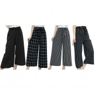 US $7.65 20% OFF|Summer New Striped Style Black Loose High Waist Crop Casual Pants Women One Size Chiffon Wide leg Pants Plus Size -in Pants & Capris from Women