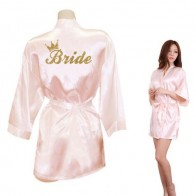 US $7.39 63% OFF|Bride Crown Team Bride Golden Glitter Print Kimono Robes Faux Silk Women Bachelorette Wedding Preparewear Free Shipping-in Robes from Underwear & Sleepwears on Aliexpress.com | Alibaba Group