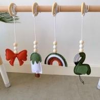 4 шт./компл. деревянный кулон для фитнеса, украшение для детской комнаты, игрушки для тренажерного зала, висячие украшения для младенцев - Детское