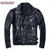 US $179.99 40% OFF|MAPLESTEED 100% Natural Sheepskin Tanned Leather Jacket Black Soft Men