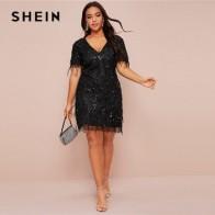 Модное облегающее платье SHEIN размера плюс с блестками, весеннее однотонное короткое платье-трапеция с коротким рукавом и глубоким v-образны... - Плюс-сайз платья