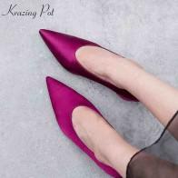 3134.83 руб. 49% СКИДКА|Krazing pot/шелк из натуральной кожи с острым носком на толстых Обувь на высоком каблуке без застежек; классическая обувь женские туфли лодочки Европейский украшения элегантные туфли L52-in Женские туфли from Туфли on Aliexpress.com | Alibaba Group