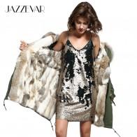 US $180.59 14% OFF|JAZZEVAR 2019 Women army green Large raccoon fur hooded long coat parkas outwear natural rabbit fur lined winter jacket-in Parkas from Women