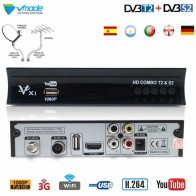 Vmade Full HD Digital TV Tuner DVB-T2 DVB-S2 Combo Terrestrial Satellite Receiver Support Dolby AC3 Decoding IPTV Youtube Cccam
