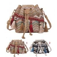 Женская сумка-мессенджер, маленькая плетеная сумка на плечо с кисточками в этническом стиле - Сумчатый Aliexpress