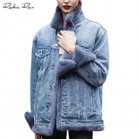 16001.71 руб. 54% СКИДКА|Женские повседневные модные пуховики женские с длинным рукавом из меха норки джинсовые куртки зима осень теплые ветрозащитные пальто-in Натуральный мех from Женская одежда on Aliexpress.com | Alibaba Group