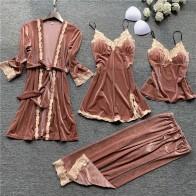 New 4PCS Women Pajamas Sets with Pants Ladies Nightgown Bathrobe Sexy Pyjama Velvet Homewear Negligee Sleepwear Pyjamas Clothing