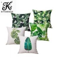 Модный высококачественный хлопковый льняной чехол для подушки с тропическим растением, банановым листом, наволочка для дивана, домашний де... - Тропический принт