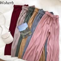 644.25 руб. 15% СКИДКА|Woherb корейские летние широкие брюки женские повседневные брюки с высокой талией с бантом пояс 2019 новые плиссированные брюки Femme 21057-in Штаны и капри from Женская одежда on Aliexpress.com | Alibaba Group