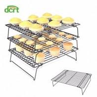 3-слойная Штабелируемая стойка для охлаждения торта, металлическое печенье для торта, хлебное печенье, охлаждающая стойка, сетка мат, лоток ...