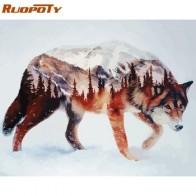 RUOPOTY рамка волк DIY живопись по номерам каллиграфия акриловая краска по номерам Настенная картина для домашнего декора