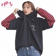 US $20.92 9% OFF| 2018 Harajuku Ulzzang BF False Two Piece Head Stitching Hoodie Autumn/Winter Korean Loose Striped Long Sleeved Hooded Hoodie-in Hoodies & Sweatshirts from Women