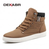 US $9.91 40% OFF|DEKABR 2019 Hot Men Shoes Fashion Warm Fur Winter Men Boots Autumn Leather Footwear For Man New High Top Canvas Casual Shoes Men-in Men