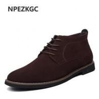 Мужские ботинки размера плюс 38-45, однотонные повседневные кожаные ботильоны на осень и зиму, NPEZKGC брендовая мужская замшевая обувь - Мужская обувь