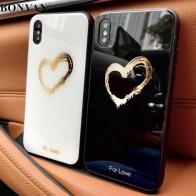 267.68 руб. 20% СКИДКА|Bonvan закаленное Стекло чехол для iPhone X case милые сердцу твердый переплет мягкий силиконовый смартфон бампер чехол на айфон 7 6S 8 плюс 6 Plus случай защиты чехлы на телефон купить на AliExpress