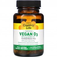 Country Life, Vegan D3, 125 mcg (5,000 IU), 60 Vegan Softgels - Vitamin D