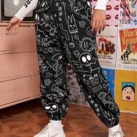 Plus Knot Waist Cartoon Graphic Wind Joggers - For women